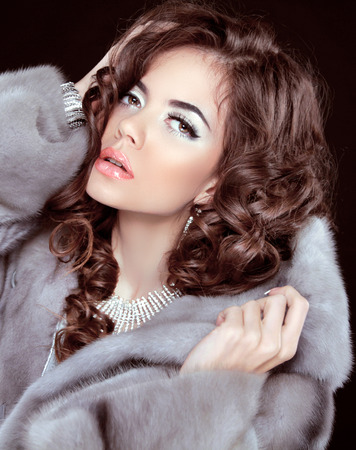 Beautiful woman model posing in fur coat, beauty closeup portrait. Makeup. Sexy girl. photo