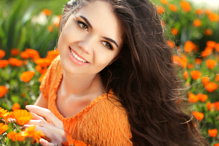 emotional freedom: Beauty woman portrait with flowers