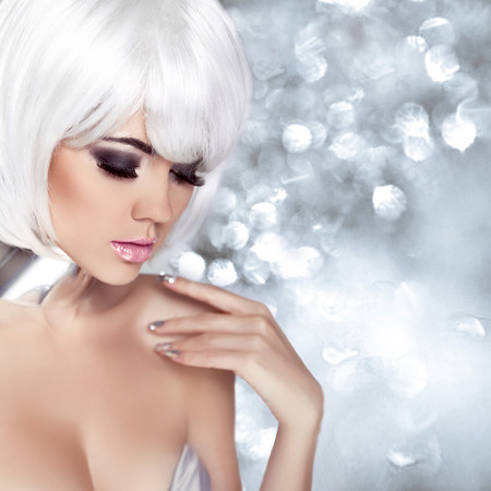 Beauty Portrait Woman, White Short Hair Isolated on blinking Christmas Background photo
