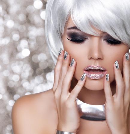 christmas manicure: Beauty Portrait Woman, White Short Hair Isolated on blinking Christmas Background Stock Photo