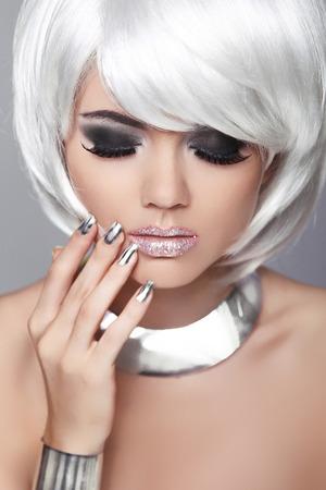 Fashion Blond Female. Beauty Portrait Woman. White Short Hair. Manicured nails. Black and White Photo. Fringe. Vogue Style photo