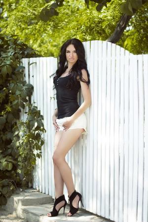Beautiful woman outdoor full portrait, sexy girl model photo