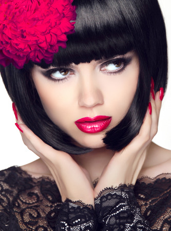 fascinating: Fashion Glamour Beauty Model Girl with Makeup and bob short Hair. Black hairstyle. Closeup portrait of brunette young woman. Stock Photo
