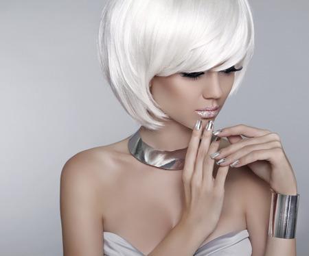 Fashion stylish blond girl model.  Stock Photo