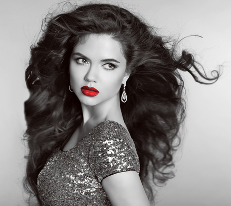 glamor: Red lips. Beautiful Retro woman portrait. Helthy long wavy hair. Diamonds Jewellery and bijouterie. Grey shadows.