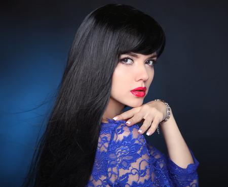 El Pelo Largo Hermosa Chica Morena Saludable Peinado Negro Los