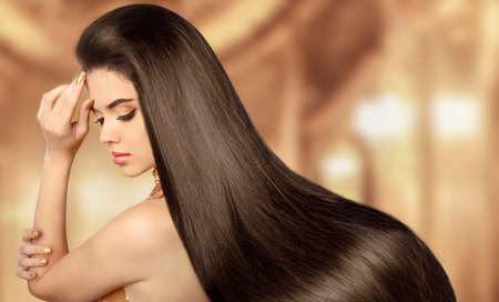 women hair: Beauty Model girl. Beautiful brunette woman with long smooth shiny straight hair.