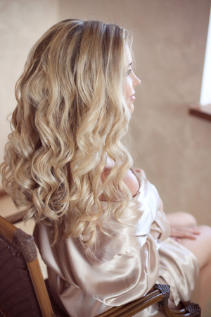 Healthy Hair Curly Long Hairstyle Back View Of Blond Hairs