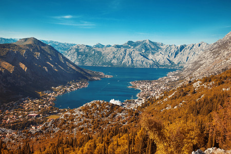 Montenegro. Panoramic landscape of mountain ridge and Kotor bay. Lovcen National Park.  View from the top of the mountain.