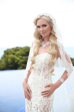 fiancee: Beautiful Bride Portrait wedding makeup and wavy hairstyle, girl in white veil, jewelry model, fashion bride gorgeous beauty, smiling happy bride woman. outdoor photo portrait.