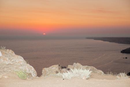 faintly visible: Sunset. Sunrise. nature background. landscape Stock Photo