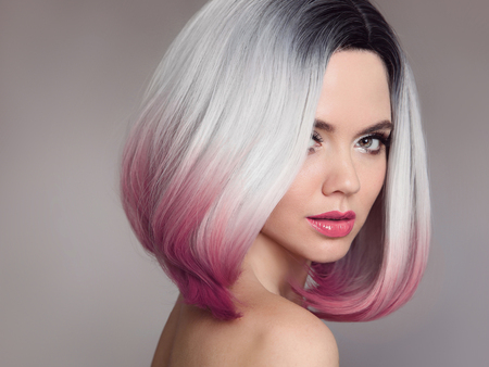 Ombre bob short hairstyle. Beautiful hair coloring woman. Fashion Trendy haircut. Blond model with short shiny hairstyle. Concept Coloring Hair. Beauty Salon.  Banco de Imagens