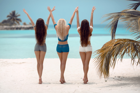 Three sexy Girls having fun on the beach. Women wears Crochet bikini swimwear posing by palm on the sea shore. Slim cute models with healthy long hair style at Summer vacations.