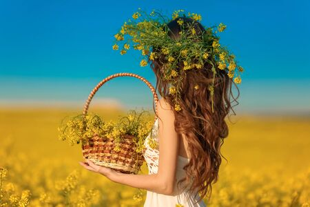 Back view of woman with long healthy hair over Yellow rape field landscape background. Attracive brunette girl with blowing hairstyle holding basket with flowers, outdoor portrait. Natural beauty.