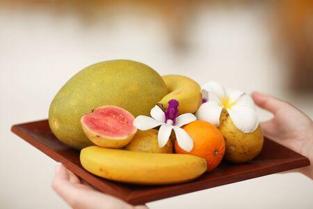 fruit salad plate isolated, tropical Bali concept Zdjęcie Seryjne