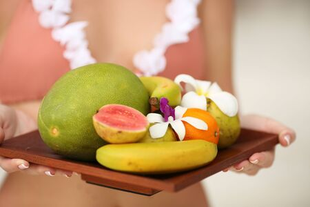 closeup of fruit salad plate isolated, tropical Bali concept