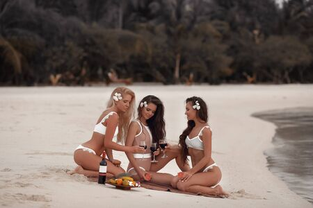 Cheers! Outdoor photo of Appealing Three sexy bikini girls drink wine during a picnic on tropical beach at Maldives island. Slim ladies with tan shapely bodies posing in ocean.