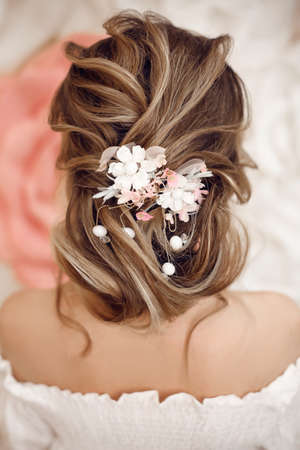 Closeup of Bridal wedding hairstyle with jewelry wreath. Back view. Elegant bride with Wavy hair. Zdjęcie Seryjne
