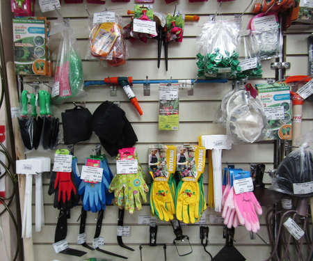 Russia, Chelyabinsk, March 2020: in the store Fertility for gardeners, garden tools and seeds on the shelves. Seasonal sales, the beginning of the garden season. Éditoriale