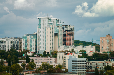 expensive: Fall in more proud Kiev, capital of Ukraine, with modern architecture and construction