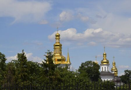 church, against a beautiful blue sky, beautiful places in Kiev, the capital of Ukraine.