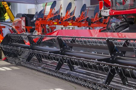 Bright colorful equipment for harvesting cereals, machines for the production of agricultural products