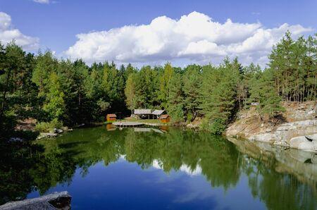 canyon in autumn forest on a warm sunny day, Ukraine, Zhytomyr region, Korostyshevsky district