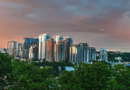 the city is covered with a beautiful sunset, beautiful landscape, Ukraine, Kiev Imagens