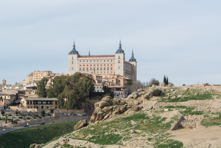 A view from a mountain to a castle of Toledo and old town , Castilla-La Mancha, Spain.