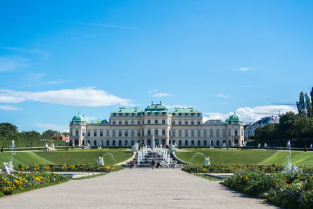 schonbrunn palace: VIENNA, AUSTRIA - JULY 29, 2016: A view of palace Belvedere in Vienna (Austria) and its garden on sunny summer day. Editorial