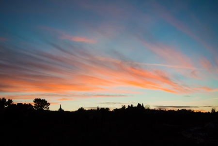Evening at Toledo and sunset with colorful sky, Castilla la Mancha, Spain. Stock Photo