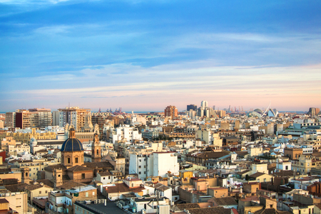 Evening panoramic view of Valencia from a tower of Valencia cathedral, Spain. Редакционное