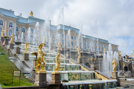 peter the great: PETERHOF, RUSSIA - MAY 10, 2015: Iconic view of Peterhof Palace at St. Petersburg, Russia.