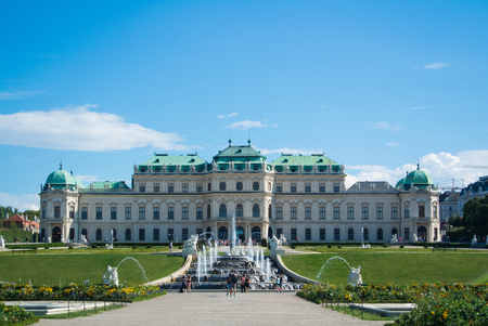 VIENNA, AUSTRIA - JULY 29, 2016: A view of palace Belvedere in Vienna (Austria) and its garden on sunny summer day. Editorial