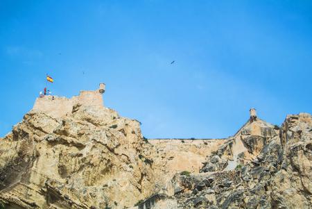 Santa Barbara Castle over mountain at Alicante city near Mediterranean sea, Costa Blanca, Spain.