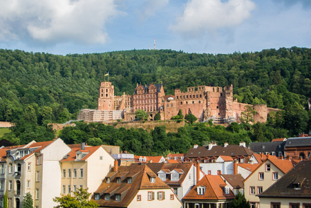 carl: Panoramic view of Heidelberg castle over the tile roofs of old town from Carl Theodor bridge, Heidelberg, Germany.