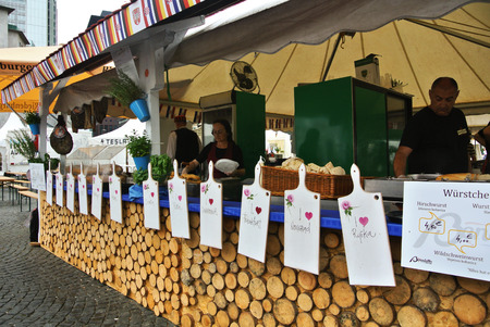 fruit trade: FRANKFURT, GERMANY - JUNE 6, 2017: Market with food of Croatia at the food festival at Frankfurt, Germany.