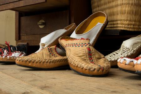 am: FRANKFURT, GERMANY - JUNE 6, 2017: Handmade shoes at the Croatian street market, Frankfurt am Main, Germany. Editorial