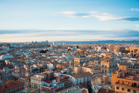 Evening panoramic view of Valencia city center from a tower of Valencia Cathedral, Spain.