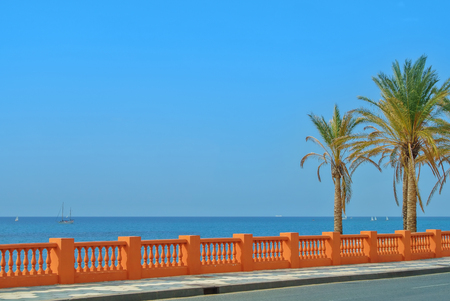 A view to Mediterranean sea from a waterfront promenade of Benalmadena beach and a road with palms at the foreground, Malaga province, Costa del Sol, Andalusia, Spain. Copy space for text.