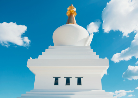 Close-up view to The Buddhist Stupa in Benalmadena town, Andalusia, Spain.