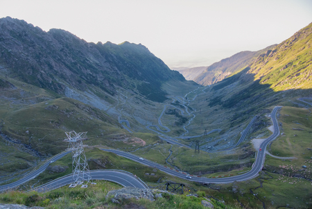 A view to a curve of the most famous, spectacular and dangerous road in Europe is a Transfagarasan road in Carpathian mountains, Romania.