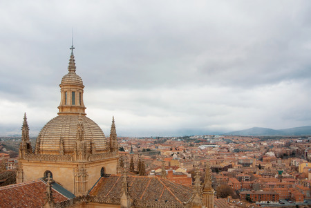 Aerial panoramic view of Segovia historic sity center of old town of Segovia skyline from an observation deck viewpoint of Catedral de Santa Maria de Segovia, Castilla y Leon, Spain. Stock Photo
