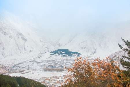 Panoramic aerial top view to winter Caucasian mountains covered with glaciers near Stepantsminda village, stormy cloudy foggy sky, Georgia. Bushes of sea buckthorn with berries at the foreground.