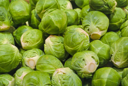 Close up macro of fresh green иrussels sprouts for sale on open street city market in Stuttgart, Germany.