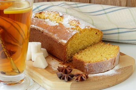 Sponge cake made from corn flour and a cup of tea