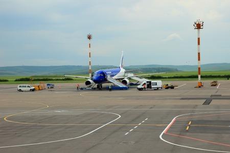 Airplane preparing to flight  Editorial