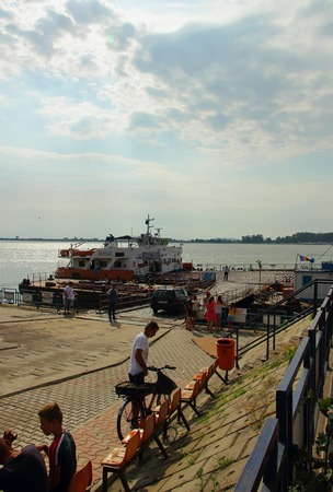 galati: Galati, Romania, July 20, 2014 Machinery, I stop at the platform of the ferry, which is preparing to depart across the river Prut