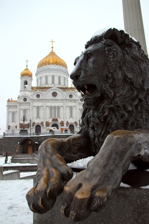 saviour: One of the two bronze lions, standing not far from the Cathedral of Christ the Saviour, Moscow, Russia, January 31, 2015 Editorial