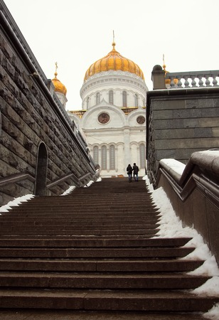 saviour: steps leading to the Temple of Christ the Saviour, Moscow, Russia, January 31, 2015 Editorial